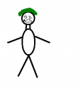 Simulation of Justin with his green hair